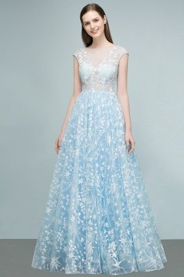 RHEA | A-line Cap Sleeves Long Appliqued Tulle Prom Dresses_5