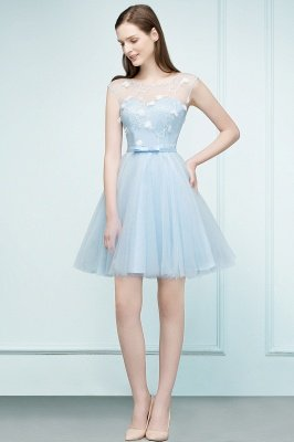 RHODA   A-line Short Appliques Tulle Homecoming Dresses with Sash_1