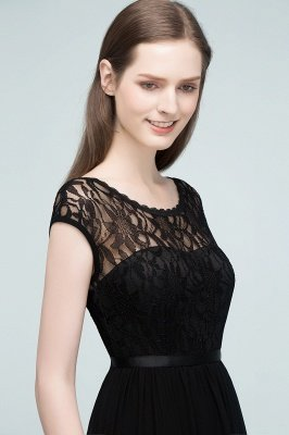 REESE | A-line Floor Length Short Sleeves Lace Bridesmaid Dresses with Sash_5