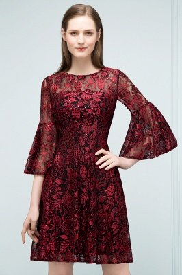 SUNNY   A-line Knee Length Lace Appliques Homecoming Dresses with Sleeves_9