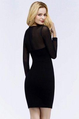 ROBERTA | Sheath Long Sleeves Sheer Neckline Short Black Homecoming Dresses_3