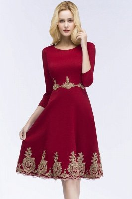 ROSANNA | A-line Knee Length Burgundy Appliques Homecoming Dresses with Sleeves