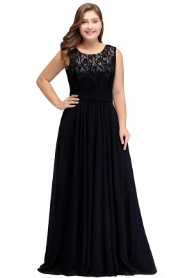 IVY | A-Line Crew Long Sleeveless Dark Navy Plus size bridesmaid Dresses with Lace_4