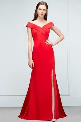 SUE | Mermaid Off-shoulder Floor Length Split Red Prom Dresses