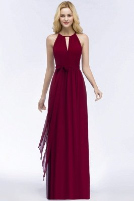 ROSALIND | A-line Halter Floor Length Burgundy Bridesmaid Dresses with Bow Sash