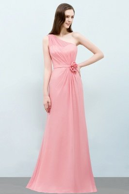 SHERA | Mermaid Floor Length One-shoulder Ruffled Chiffon Bridesmaid Dresses with Flower_4