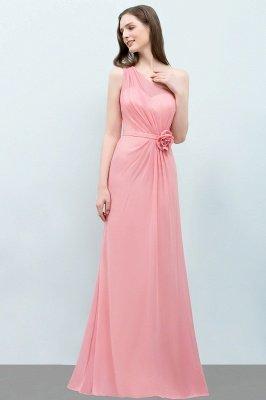 SHERA | Mermaid Floor Length One-shoulder Ruffled Chiffon Bridesmaid Dresses with Flower