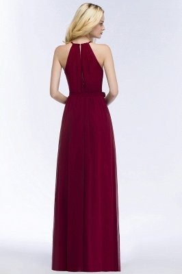 ROSALIND | A-line Halter Floor Length Burgundy Bridesmaid Dresses with Bow Sash_9