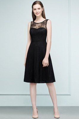 REBEKAH | A-line Knee Length Sleeveless Lace Bridesmaid Dresses_1