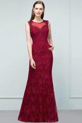 SUSAN | Mermaid Floor Length Sleeveless Lace Burgundy Prom Dresses_1