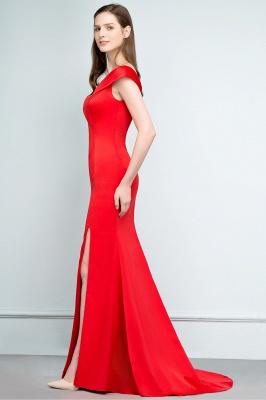 SUE | Mermaid Off-shoulder Floor Length Split Red Prom Dresses_8