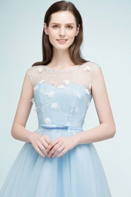 RHODA   A-line Short Appliques Tulle Homecoming Dresses with Sash