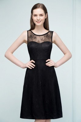 REBEKAH | A-line Knee Length Sleeveless Lace Bridesmaid Dresses_4