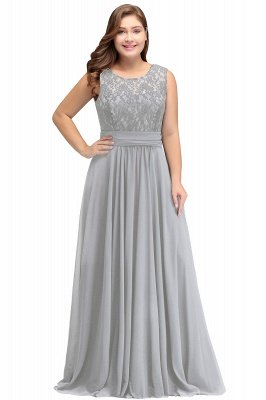 IVY | A-Line Crew Long Sleeveless Dark Navy Plus size bridesmaid Dresses with Lace_5