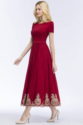 ROSEANNA | A-line Short Sleeves Ankle Length Appliques Prom Dresses with Sash_8