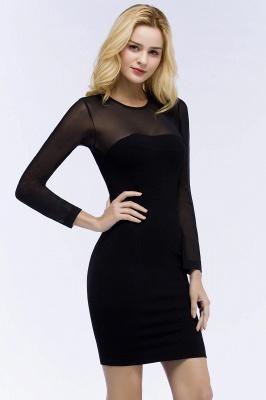 ROBERTA | Sheath Long Sleeves Sheer Neckline Short Black Homecoming Dresses_7