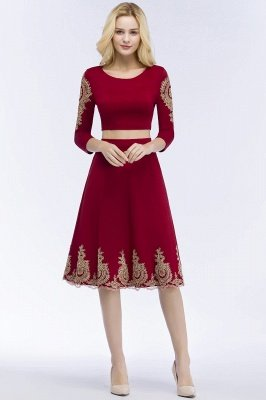 ROSAMOND | A-line Two-piece Long Sleeves Tea Length Appliques Homecoming Dresses_1