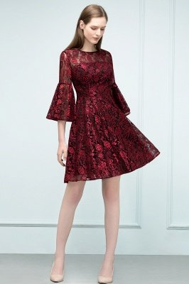 SUNNY   A-line Knee Length Lace Appliques Homecoming Dresses with Sleeves_4
