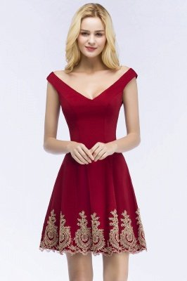 ROSE | A-line V-neck Short Off-shoulder Appliques Burgundy Homecoming Dresses