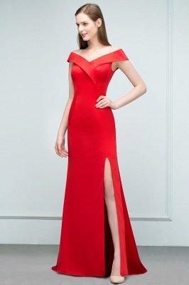 SUE | Mermaid Off-shoulder Floor Length Split Red Prom Dresses_7