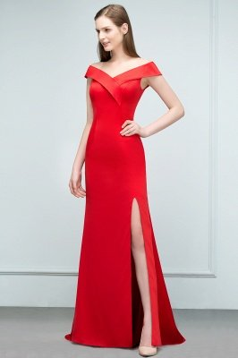 SUE | Mermaid Off-shoulder Floor Length Split Red Prom Dresses