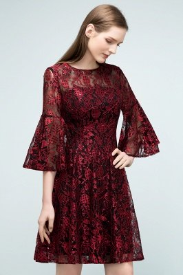 SUNNY   A-line Knee Length Lace Appliques Homecoming Dresses with Sleeves_6