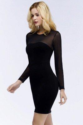 ROBERTA | Sheath Long Sleeves Sheer Neckline Short Black Homecoming Dresses_8
