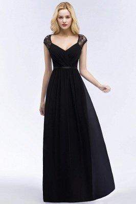 ROSALIA | Une ligne de v-cou rez-de-longueur dentelle robes de demoiselle d'honneur en mousseline de soie avec ceinture_5