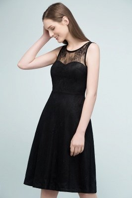 REBEKAH | A-line Knee Length Sleeveless Lace Bridesmaid Dresses_8
