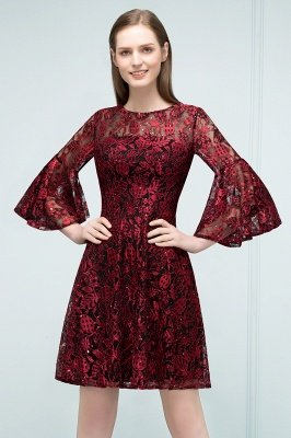 SUNNY   A-line Knee Length Lace Appliques Homecoming Dresses with Sleeves_7