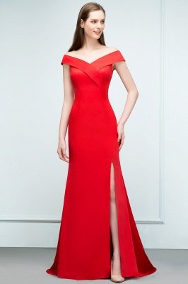 SUE | Mermaid Off-shoulder Floor Length Split Red Prom Dresses_5