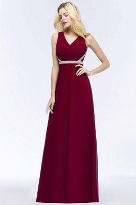 ROSALINE | Robe de demoiselle d'honneur A-ligne sans manches à col en V à volants avec bretelles perlées_4