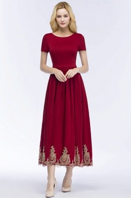 ROSEANNA | A-line Short Sleeves Ankle Length Appliques Prom Dresses with Sash_6