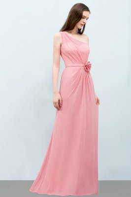 SHERA | Mermaid Floor Length One-shoulder Ruffled Chiffon Bridesmaid Dresses with Flower_7