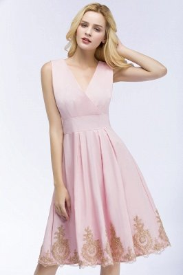 ROSEANNE | A-line V-neck Knee Length Sleeveless Appliques Homecoming Dresses