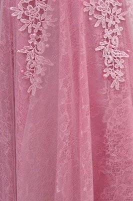WILMA | Ball Gown Illusion Neckline Tea Length Lace Tulle Dusty Pink Prom Dresses with Beading_18