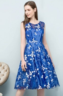 STARR | A-line Knee Length Sleeveless Flower Appliques Tulle Homecoming Dresses_7
