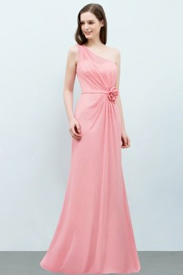 SHERA | Mermaid Floor Length One-shoulder Ruffled Chiffon Bridesmaid Dresses with Flower_8