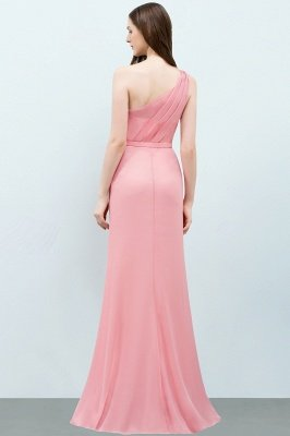 SHERA | Mermaid Floor Length One-shoulder Ruffled Chiffon Bridesmaid Dresses with Flower_3