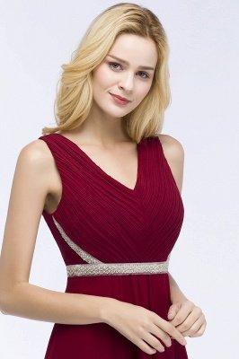 ROSALINE | Robe de demoiselle d'honneur A-ligne sans manches à col en V à volants avec bretelles perlées