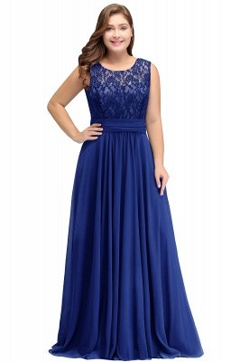 IVY | A-Line Crew Long Sleeveless Dark Navy Plus size bridesmaid Dresses with Lace_2