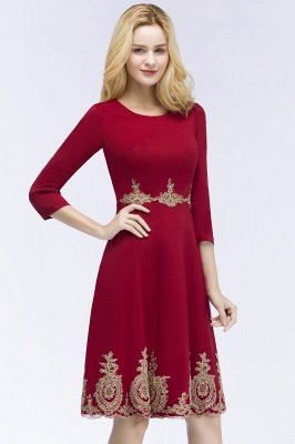ROSANNA | A-line Knee Length Burgundy Appliques Homecoming Dresses with Sleeves_8