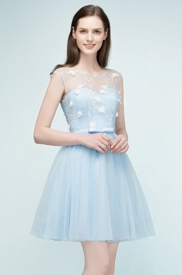 RHODA   A-line Short Appliques Tulle Homecoming Dresses with Sash_5