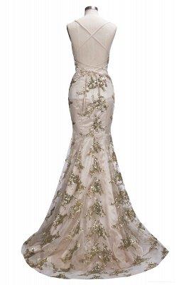 SAGE | Mermaid V-neck Spaghetti Floor-length Crystal Beads Prom Dresses_9