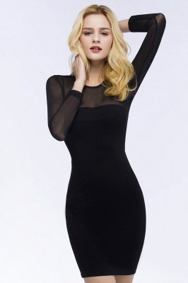ROBERTA | Sheath Long Sleeves Sheer Neckline Short Black Homecoming Dresses_5