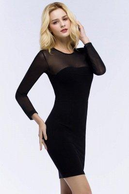 ROBERTA | Sheath Long Sleeves Sheer Neckline Short Black Homecoming Dresses_4