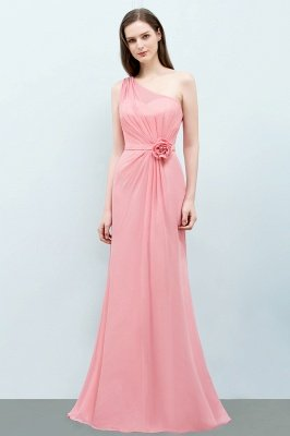 SHERA | Mermaid Floor Length One-shoulder Ruffled Chiffon Bridesmaid Dresses with Flower_1