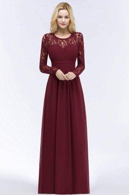 ROSALIE | A-line Floor Length Long Sleeves Lace Chiffon Bridesmaid Dresses_7