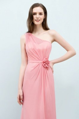 SHERA | Mermaid Floor Length One-shoulder Ruffled Chiffon Bridesmaid Dresses with Flower_6