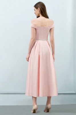Long Pink Off The Shoulder A-Line Crystal Bridesmaid Dresses_2